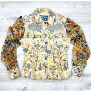 4e49f18ab474 Kenzo Jeans Jacket Sheer Sleeve Lace Jewel Button